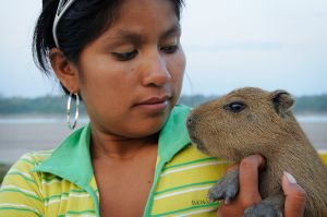 Girl with a Capybara