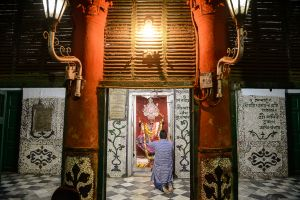 A man prays to the goddess Kali in Calcutta.