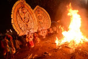 People possessed by the Mother Goddess at a rite in Kerala.