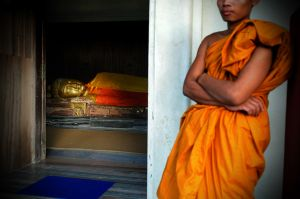 A monk at a temple in Kushinagar, the place where the historical Buddha, Siddhartha Gautama, is said to have died.