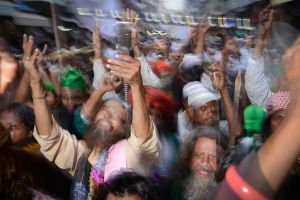 Pilgrims arriving at a Sufi shrine in Rajasthan after walking more than 300 miles.
