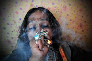 Fakir smoking hashish