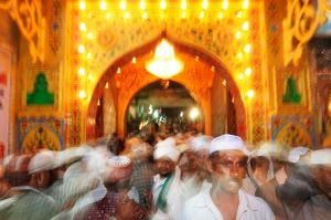 Pilgrims at the shrine of the Sufi saint Moin-ud-din Chisti