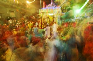At a Dhammal, the drumming, dancing and singing continue late into the night, and sometimes until morning.
