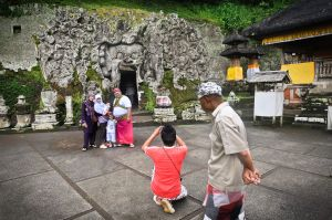 Javanese Tourists at a Balinese Cave Shrine