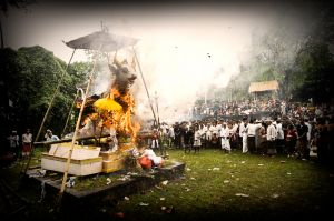 Cremation of a Hindu holy man