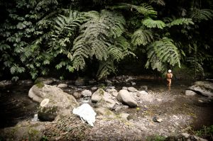 A Hindu priest bathes in a sacred river
