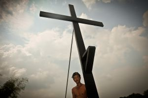 A man waits for his crucifixion.