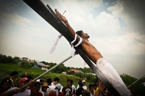 A crucifixion in San Fernando — a ritual immitation of the suffering of Jesus Christ.