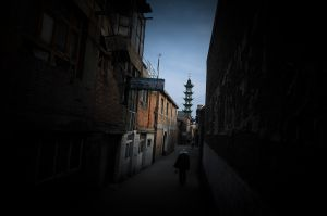 A Chinee Muslim heads towards a mosque