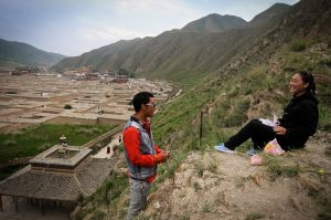 Young Tibetans in the hills above Labrang monasery.