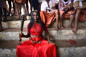 An oracle of the Mother Goddess. They are called velichappadu, literally