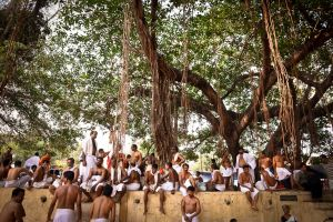 Devotees of the mother Goddess under a holy banyan tree.