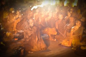 Thai monks meditating on a full moon night near the Mahabodhi temple at Bodhgaya. Along with Hindus, Sufis, Taoists and Christian contemplatives, Buddhists believe that only through meditation can a person attain to the higher spiritual life.