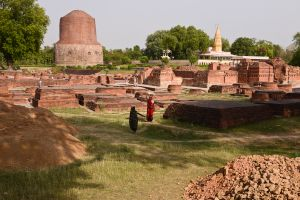 Archaeological excavations continue at the ruins at Sarnath, known as Isipatana in ancient times. It was here, in a deer park, that the Buddha taught for the first time. The ruins are those of a Buddhist monastic community that arose on the spot in later years.