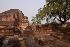 Ruins of the Buddhist university at Nalanda. In the Buddha's time Nalanda was a prosperous town and he visited many times to teach there. Centuries later, Nalanda became the largest and most famous seat of learning in the Buddhist world, reaching its peak in the 4th to the 7th centuries AD. Muslim invaders destroyed the university in the 12th century during their conquest of India.