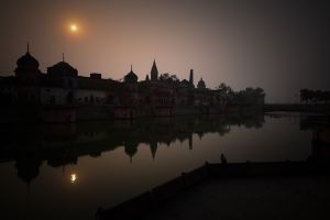 Sunset in Ayodhya, an ancient city mentioned in the Mahabharata. The Buddha Sakyamuni taught here on many occasions. Nothing survives in the city from Buddha's time, but today it is an important pilgrimage center for devotees of the Hindu god Ram.