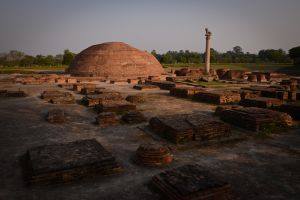 The ruins of Kutagarasala, the most important monastery in Vaishali, where the Buddha delivered many imporant teachings. It is especially famous as the place where the Buddha agreed to allow women to be ordained as nuns, something revolutionary in the fifth century BC. The stupa once held the remains of Ananda, one of the Buddha's most imporant disciples and the one responsible for collecting and organizing Sakyamuni's teachings. It was in this monastery that, ill and feeling himself growing weaker, the Buddha is said to have consciously abandoned the will to live. Sakyamuni summoned the resident monks for his final teaching to the monastic order. He then announced that he woud soon die.