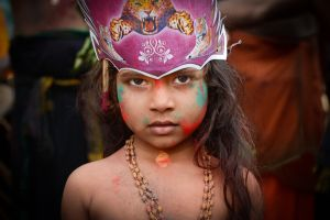 Tradition forbids women of child-bearing age from undertaking the pilgrimage to Sabarimala; so some men bring their young daughters along on the the journey.