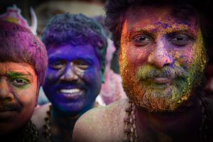 Pilgrims to Sabarimala with paint smeared faces at the start of their pilgrimage.
