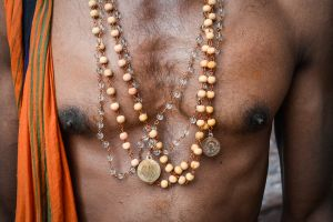The mala, or holy necklaces, that all pilgrims to Sabarimala wear.