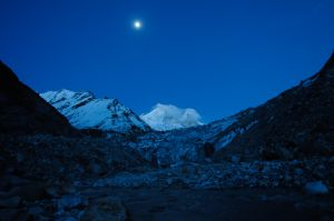 Moonrise over the Gaumukh Glacier, the source of the Ganges, India's holiest river. Far from Sabarimala in south India, at the other geographic extreme of the country, millions of people every year undertake pilgrimages to various holy places in the Himalaya.