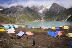 A tent camp in the Kashmir Himalaya on the way to the Amarnath Cave.
