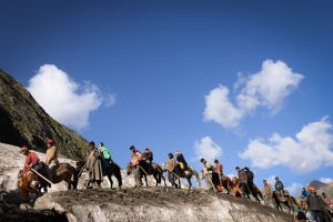 Hundreds of thousands of pilgrims make the trek to the Amarnath Cave during the short two months when the weather high in the Himalaya is relatively warm and stable.
