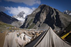 A vast tent camp, the last before reaching the Amarnath Cave, accomodates tens of thousands of pilgrims at a time.