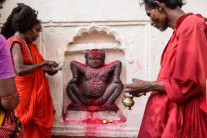 Tantrikas make offerings of to an image of the mother goddess in the Kamakhya temple.