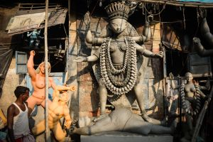 Unfinished images of Kali outside an idol workshop in Calcutta.