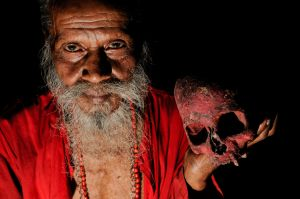 A Tantric sadhu with a human skull.