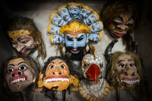 Masks used in sacred dramas.
