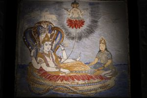 A Satra mural depicts a Hindu creation myth in which the god Vishnu dreams the universe into existence.