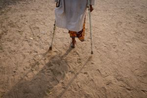 A handicapped Sufi traveler on a five hundred kilometer pilgrimage.