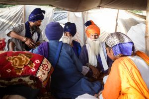 Inside a tent at a Nihang encampment during the festival of Hola Mohalla. The ideal Nihang, or soldier saint, is a person who unites within himself a life of contemplation and a life of vigilant action in the service of the community.