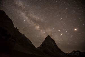 The Milky Way Galaxy and Mars above Gumburanjun, a sacred mountain in the Zanskar Valley.