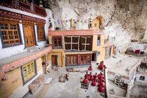 Young novices studying outside a temple at the Phugtal Monastery in Zanskar.