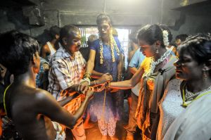 A hijra during a ritual wedding to the Hindu god Aravan in the village of Koovagam.