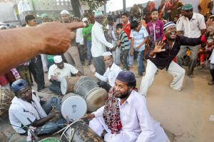 Sidis drumming and dancing on the death anniversary of a Sidi saint.