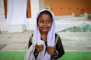 Sidi girl with an injured finger.