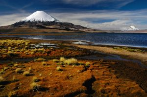Volcan Patinacota and Lago Chungara