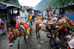A woman on mule-back looks anxiously at the trail winding its way up into the mountains as she passes some tea stalls lining the pilgrim route.