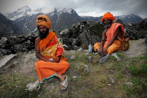 Sadhus Nandi Bharti and Govind Giri in the mountains above Kedarnath.  Many Sadhus stay for weeks or even months at Kedarnath and in the nearby mountains.